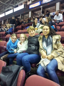 Stella, Anna, Olivia and Maya watching the Rockets win